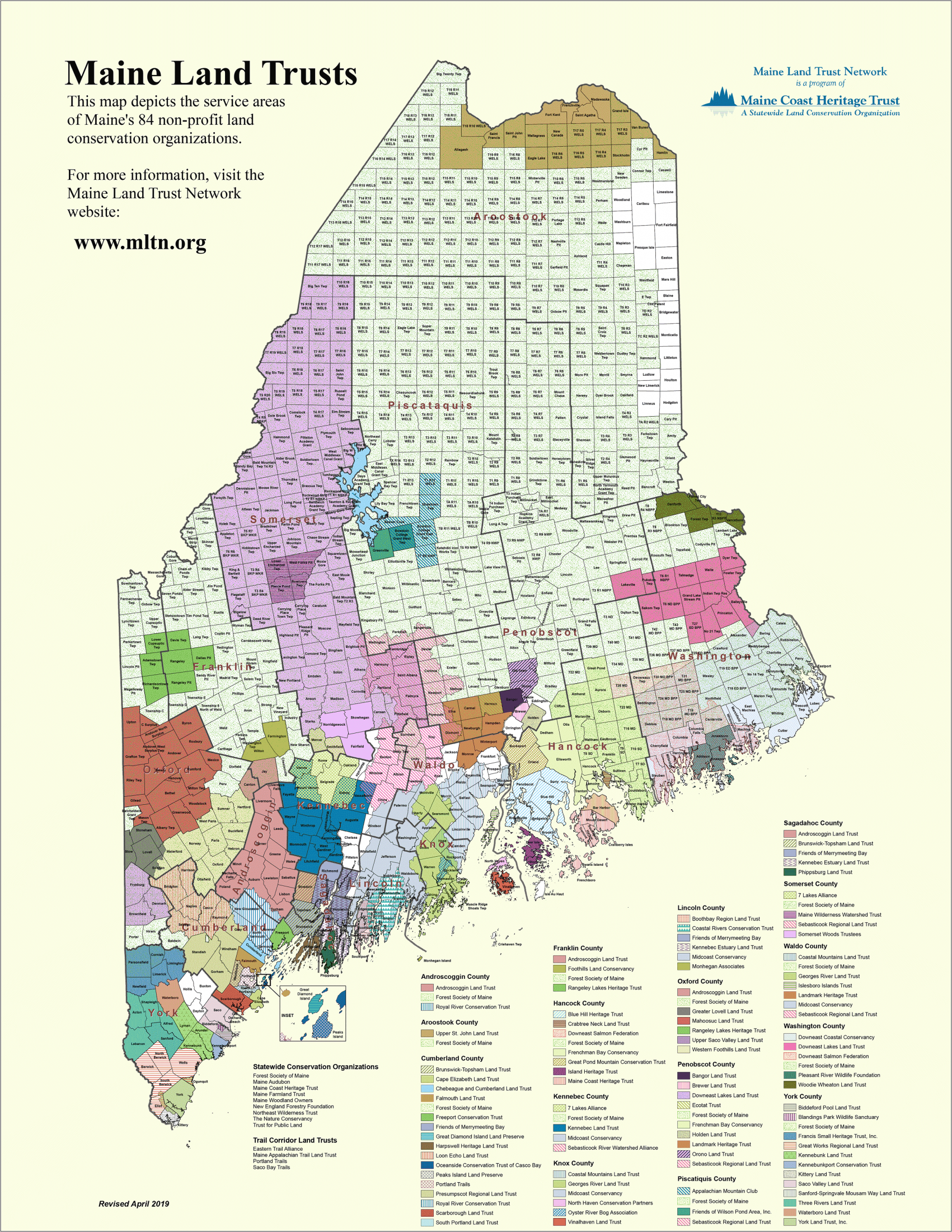 Map of Maine Land Trusts – Maine Land Trust Network